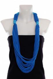 Colier textil lung albastru