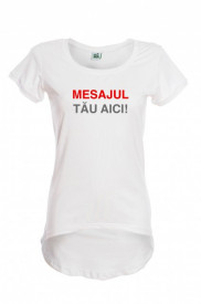 Tricou pictat cu mesaj - model asimetric