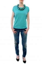 Bluza turquoise si colier textil