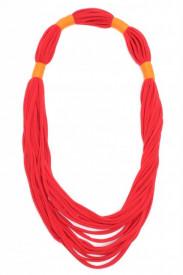 Colier textil lung rosu