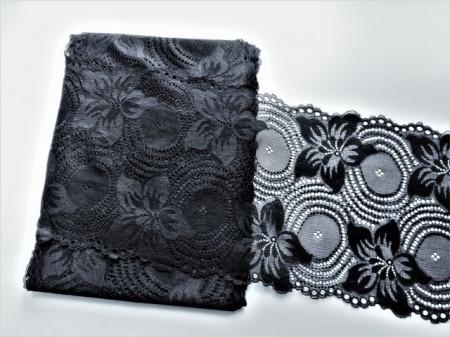 Dantela elastica neagra 18cm, cod303
