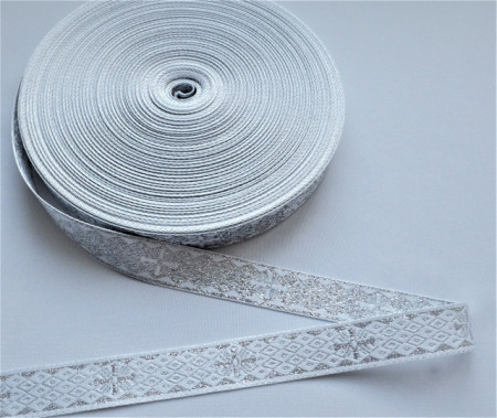 Galon bisericesc doua fețe, Sava - Nou, 25 mm alb cu argintiu