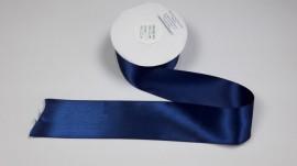 Panglica satinata ambele fete 50 mm bleumarin