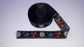 Banda tesuta Floare de colt 40 mm - fond negru