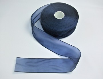 Panglica organza 40 mm bleumarin