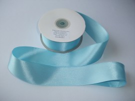 Panglica satinata ambele fete 50 mm bleu