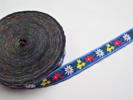 Banda tesuta Floare de colt 25 mm - fond albastru
