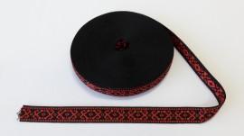 Banda tesuta Noni 20 mm - negru cu rosu