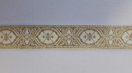 Galon bisericesc Dumi 25 mm alb cu auriu