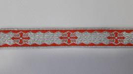 Galon bisericesc Sava 25 mm argintiu cu rosu
