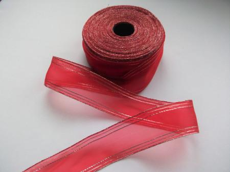 Panglica organza 40 mm rosu cu argintiu