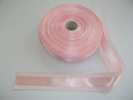 Panglica satinata pe mijloc 40 mm roz
