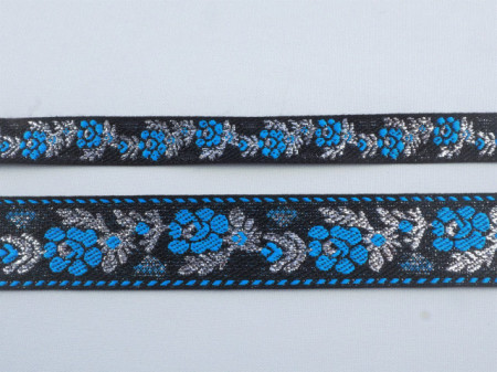 Banda tesuta Jesica 15mm, 28mm- albastru si argintiu pe negru
