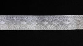 Galon bisericesc Nicodim 25 mm argintiu cu alb