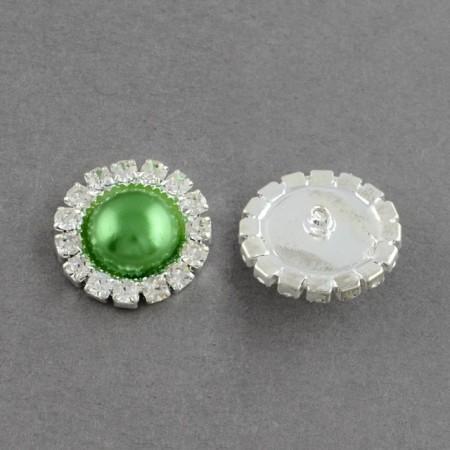 Nasturi cu strasuri si imitatie perla 16mm(M24) si 21mm(M34) - verde(N,S-2)