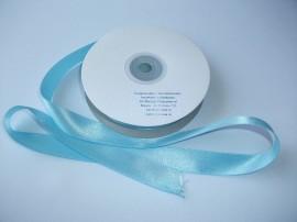 Panglica satinata ambele fete 15 mm bleu