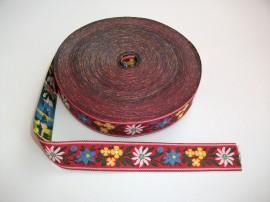 Banda tesuta Floare de colt 40 mm - fond rosu