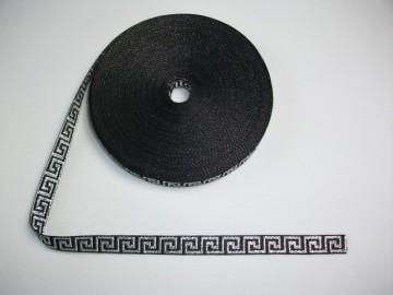 Banda tesuta Model grecesc 12 mm - argintiu pe negru