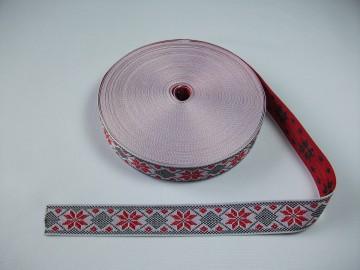 Banda tesuta Ana 25 mm - cu rosu