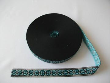 Banda tesuta Anca 13 mm, 20mm - bleu cu argintiu