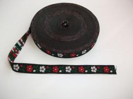 Banda tesuta flori 16 mm - fond negru