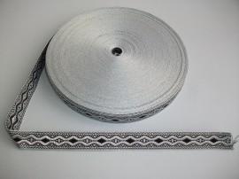 Galon bisericesc Nicodim 25 mm argintiu cu negru