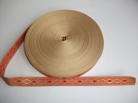 Galon bisericesc Nicodim 25 mm auriu cu rosu