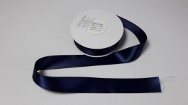 Panglica satinata ambele fete 25 mm bleumarin