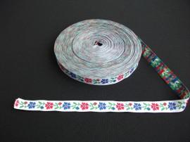 Banda tesuta flori 16 mm - fond alb