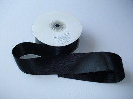 Panglica satinata ambele fete 38 mm neagra