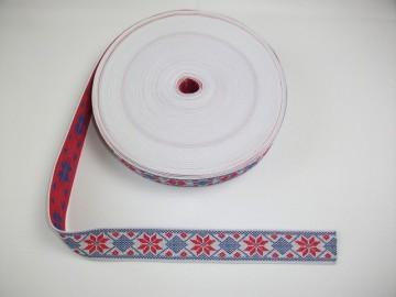 Banda tesuta Ana 25 mm - rosu cu albastru