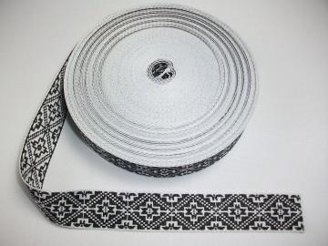 Banda tesuta Catrina 25 mm - alb cu negru