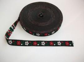 Banda tesuta flori 25 mm - fond negru