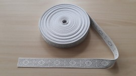 Galon bisericesc Dumi 25 mm alb cu argintiu