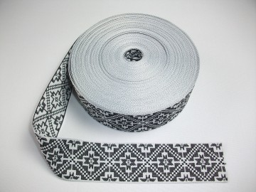Banda tesuta Catrina 40 mm - alb cu negru