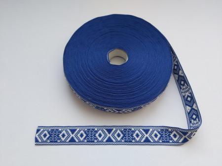 Banda tesuta Modena 25 mm - pe albastru