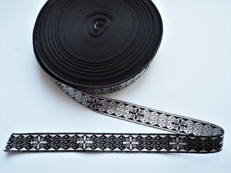 Galon bisericesc doua fețe, Sava - Nou, 25 mm, negru cu argintiu