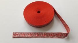 Galon bisericesc Dumi 25 mm rosu cu argintiu