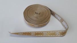 Galon bisericesc Sava 25 mm auriu cu alb