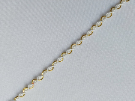 Galon poliester 5mm, cod 11, alb cu auriu
