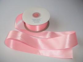 Panglica satinata ambele fete 50 mm roz