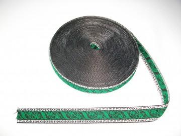 Banda tesuta Cezara 25 mm - model pe verde