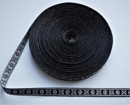 Banda tesuta Crenguta 10 mm argintiu cu negru
