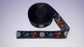 Banda tesuta Floare de colt 25 mm - fond negru