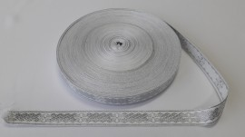 Galon bisericesc Sava 25 mm argintiu cu alb