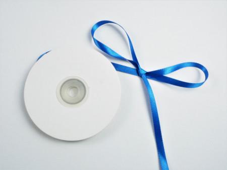 Panglica satinata ambele fete 6 mm albastra