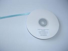 Panglica satinata ambele fete 6 mm bleu