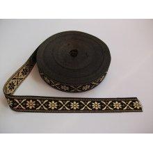 Banda tesuta Crenguta 25 mm auriu cu negru