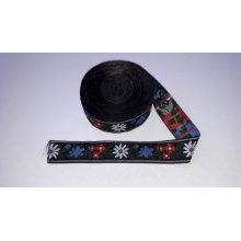 Banda tesuta Floare de colt 16 mm - fond negru