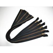 Fermoare metalice detasabile #5 negre cu dinti aurii 50,60,70,75,90,100 cm